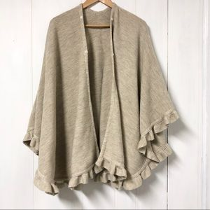 Tan and Cream Knit Wool Blend Poncho Made In Italy